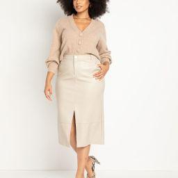 Faux Leather Midi Skirt | Eloquii
