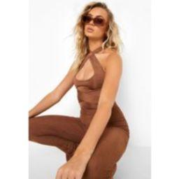 Womens Multi Way Slinky Bodysuit - Brown - 14, Brown | Boohoo.com (UK & IE)