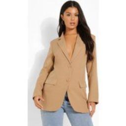 Womens Fitted Tailored Blazer - Beige - 12, Beige | Boohoo.com (UK & IE)
