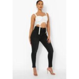 Womens 5 Pocket High Waist Skinny Jeans - Black - 8, Black | Boohoo.com (UK & IE)