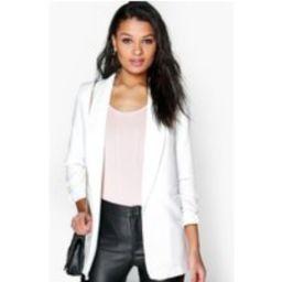 Womens Ruched Sleeve Blazer - White - S, White | Boohoo.com (UK & IE)