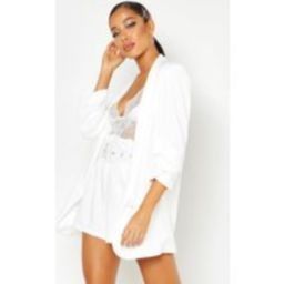 Womens Woven Tailored Ruched Sleeve Blazer - White - 12, White | Boohoo.com (UK & IE)