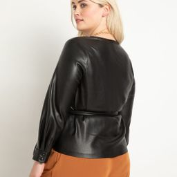 Faux Leather Wrap Top | Eloquii