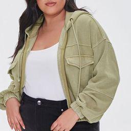 Plus Size Hooded Flap-Pocket Jacket | Forever 21 (US)