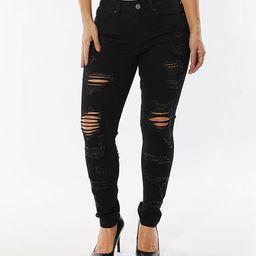 Dollhouse Women's Denim Pants and Jeans Black - Black Distressed Skinny Jeans - Juniors & Plus | Zulily
