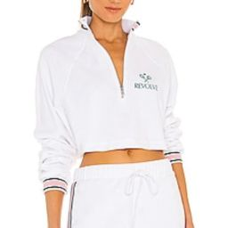 REVOLVE TENNIS CLUB Half Zip Raglan Pullover in White from Revolve.com | Revolve Clothing (Global)