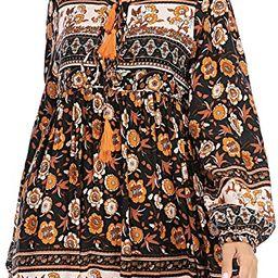 R.Vivimos Womens Long Sleeve Floral Casual Print Cotton Mini Tunic Dress | Amazon (US)