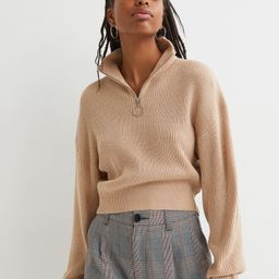 Ribbed Stand-up Collar Sweater   H&M (US)