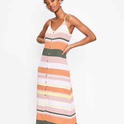 Striped Button Strappy Midi Dress   LOFT