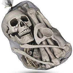 MOLEZU 28 Pieces Skeleton Bones Realistic Looking Skulls Human Skeleton Head Skull for Halloween ... | Amazon (US)