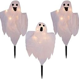 LJLNION Halloween Decorations, 3 Pack 26 Inch Lighted White Ghost Stakes, Cloth Ghosts with 20-Count | Amazon (US)