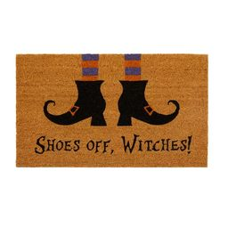 """Shoes Off Witches Novelty Halloween Coir Doormat - 18"""" x 30"""" - Natural - Elrene Home Fashions   Target"""