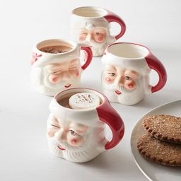 Santa Claus Shaped Handcrafted Ceramic Mugs   Pottery Barn (US)