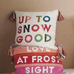 Seasons Greetings Hooked Pillow | Anthropologie (US)