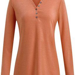 KILIG Women's Long Sleeve V-Neck Button Loose Casual Henley Tunic Tops T Shirt | Amazon (US)