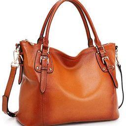 Kattee Women's Genuine Leather Handbags Shoulder Tote Top Handles Crossbody Bag Satchel Designer Pur | Amazon (US)