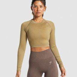 Gymshark Adapt Fleck Seamless Long Sleeve Crop Top - Mineral | Light Brown | Gymshark (Global)