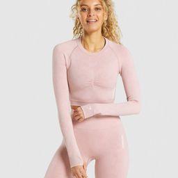 Gymshark Adapt Camo Seamless Long Sleeve Crop Top - Light Pink | Gymshark (Global)