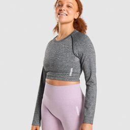 Gymshark Adapt Marl Seamless Long Sleeve Crop Top - Black | Gymshark (Global)