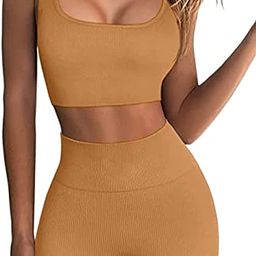 Gym Sets for Women 2 Piece Workout Sets Seamless Ribbed Crop Tank High Waist Shorts Yoga Outfits | Amazon (US)