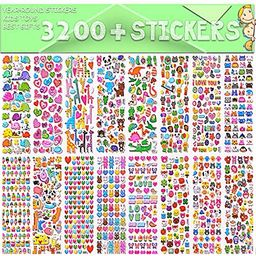 Stickers for Kids, 3D Puffy Stickers, 64 Different Sheets, 3200+ Stickers, Including Animals, Car... | Amazon (US)