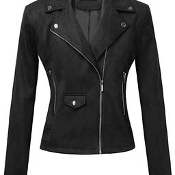 BAISHENGGT Womens Faux Suede Zip Up Motorcycle Short Jacket Casual Outwear Coat | Amazon (US)