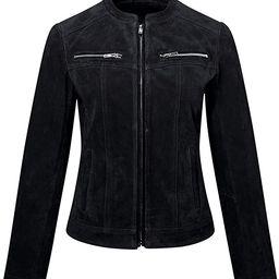 FLAVOR Women's Suede Leather Biker Jacket Moto Coat | Amazon (US)