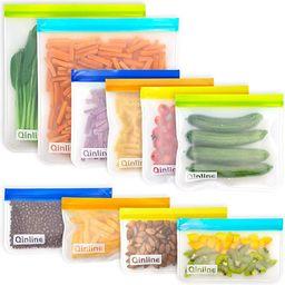 Reusable Storage Bags - 10 Pack Leakproof Freezer Bags(2 Reusable Gallon Bags + 4 BPA FREE Reusab...   Amazon (US)