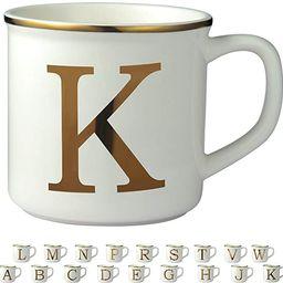 Miicol Gold Initials 16 oz Large Monogram Ceramic Coffee Mug Tea Cup for Office and Home Use, Cut... | Amazon (US)