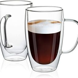 MEWAY 16oz/2 pack Coffee Mugs,Clear Glass Double Wall Cup with handle for Coffee, Tea, Latte, Cap... | Amazon (US)