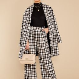 Classically Chic Black And White Plaid Coat   Red Dress