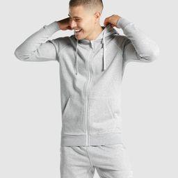 Gymshark Crest Zip Up Hoodie - Light Grey Marl | Gymshark (Global)