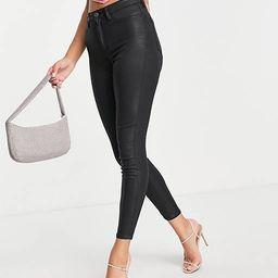 ASOS DESIGN high rise ridley 'skinny' jeans in coated black | ASOS (Global)