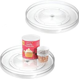 """iDesign 54030M2 Linus Turntable Kitchen, Pantry or Countertop Organization, 11"""" Inch, Clear, 2 Co... 