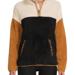 Time and Tru Women's and Women's Plus Size Quarter Zip Faux Sherpa Pullover | Walmart (US)