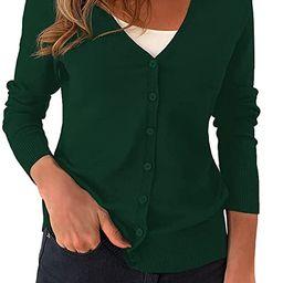 a.Jesdani suéter de punto suave de manga larga con cuello redondo y botones para mujer   Amazon (US)