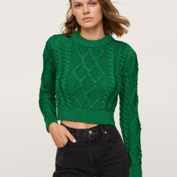 Metallic-knit sweater   MANGO (US)