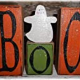 Halloween Boo Wood Glitter Blocks With Small Ghost On Blocks Personalized | Amazon (US)