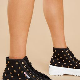 2341 Alpina Black And Gold Studded Platform High Top Sneakers   Red Dress