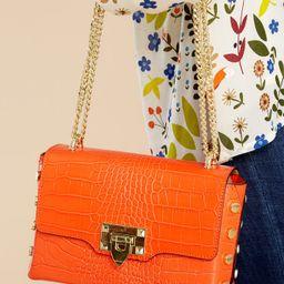 Embellished Edge Orange Snake Print Studded Bag   Red Dress