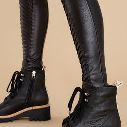 Hinto Black Leather Boots   Red Dress