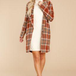 Fondly Familiar Chestnut Plaid Coat   Red Dress