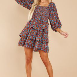 A Flirty Rendezvous Orange And Blue Floral Print Dress | Red Dress