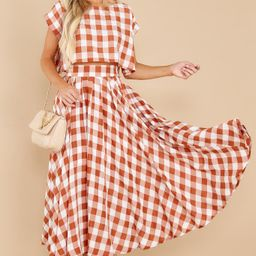 Leaps Of Time Rust Gingham Two Piece Set   Red Dress