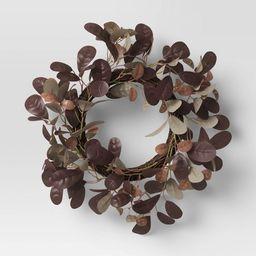 "13"" Artificial Leaf Wreath Purple/Brown - Threshold™ | Target"