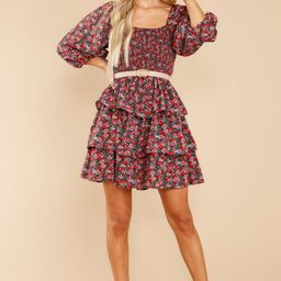 A Flirty Rendezvous Red And Purple Floral Print Dress | Red Dress