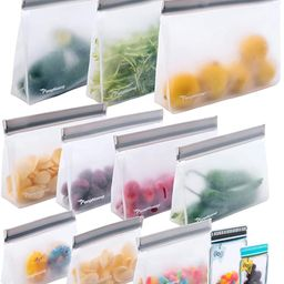 12 Reusable Food Storage Bags,STAND UP Reusable Freezer Bags,Snack,Lunch,Sandwich Bags for kids   Amazon (US)