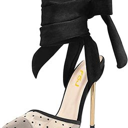FSJ Women High Heel Ankle Strap Sandals Pointed Toe Rivets Pumps PVC Club Dress Shoes with Studs ...   Amazon (US)