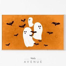 Read the full title     Halloween Ghosts Frame Tv Art | Orange And Black Halloween Wall Art | Sam... | Etsy (US)