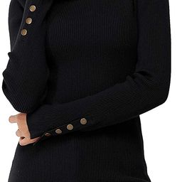Newshows Women's Solid Long Sleeve Knit Crew Neck Button Stretch Casual Pullover Sweater   Amazon (US)